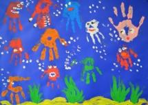 meerestiere-gruppenbild-fingerfarben