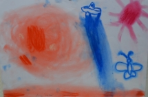 Planet mit Raumschiff Pastellkreide Junge7