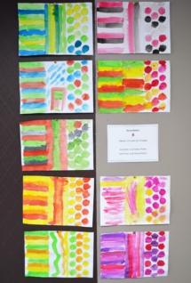 Schablonieren 3 Formen 3 Farben Wasserfarben